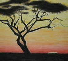 Tree in the sunset by Zlata Bajramovic
