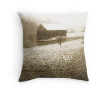 Snowy Barn Throw Pillow