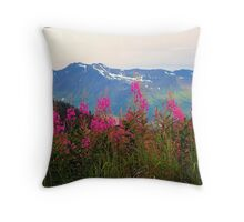 Fireweed Resurrection Valley Alaska Throw Pillow