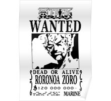 Wanted Bounty Zorro - Black on White Poster