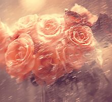 Rain Red Roses Pastel by JennyRainbow