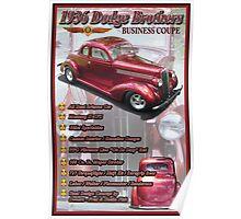 1936 Dodge Brothers Streetrod Show Sign Poster