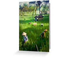 Balinese Rice Field Workers Greeting Card