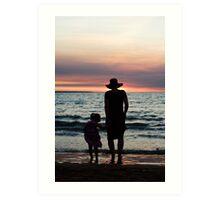 Mother and child - Darwin sunset Art Print