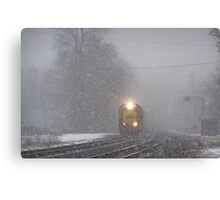 Outbound Train in the snow in Berea, Ohio Canvas Print