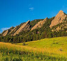 Boulder Colorado Flatirons Sunrise Golden Light by Bo Insogna