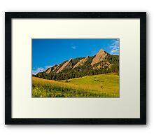 Boulder Colorado Flatirons Sunrise Golden Light Framed Print