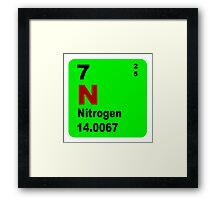 Nitrogen Periodic Table of Elements Framed Print