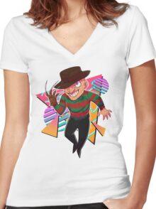 80s Horror Icons- Freddy Krueger Women's Fitted V-Neck T-Shirt