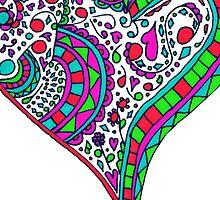 Henna Heart Vibrant Color Heart Mandala by Rachel Corona