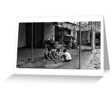 Children at play, Lainchaur. Kathmandu Greeting Card