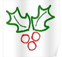 Simple Holly Sprig Poster