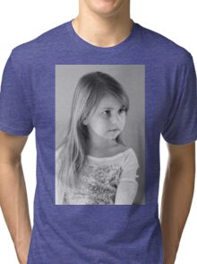 Girl Portrait in Black and White Tri-blend T-Shirt