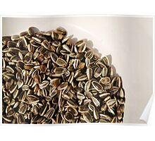 Sunflower Seeds in White Bowl  Poster