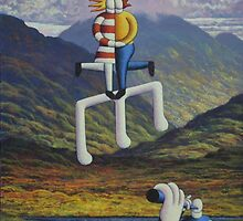 Irish landscape with lovers notes  and musicians by Alan Kenny