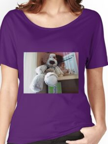 Big soft Dog sitting on a shelf at the Convent Gallery, Vic. Women's Relaxed Fit T-Shirt