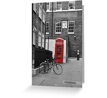 Phone box  and Bike Greeting Card