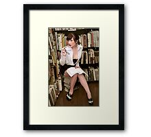 Flirty Pinup Librarian Framed Print