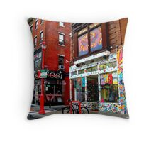 A rainy day on South Street Throw Pillow