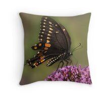 BLACK SWALLOWTAIL ON BUSH Throw Pillow