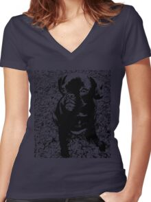 Black & White Pug Women's Fitted V-Neck T-Shirt