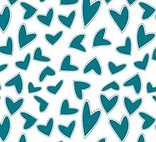 Teal Hearts by JessKnutson