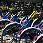 Wheels on a Row of Bikes  by jojobob