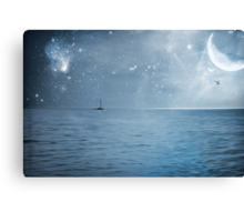 moonlight over the caribbean  Canvas Print