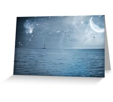 moonlight over the caribbean  Greeting Card