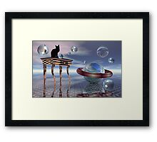 Kitty meets an alien cat Framed Print
