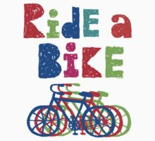 Ride a Bike sketchy - white T by Andi Bird