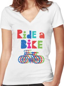 Ride a Bike sketchy - white T Women's Fitted V-Neck T-Shirt