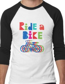 Ride a Bike sketchy - white T Men's Baseball ¾ T-Shirt