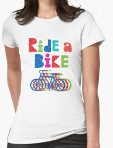 Ride a Bike sketchy - white T Womens Fitted T-Shirt