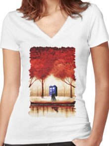 Blue Phone Box Cloud Women's Fitted V-Neck T-Shirt