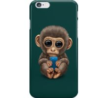 Cute Baby Monkey Holding a Blue Cell Phone  iPhone Case/Skin