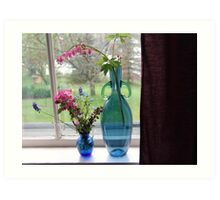Bouquets in Blue Vases Art Print