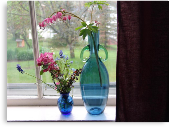 Bouquets in Blue Vases by May Lattanzio