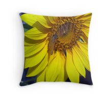 Sunflower With Moth Throw Pillow