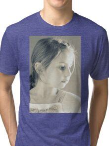 Girl With The Gold Earring - Portrait In Monochrome Tri-blend T-Shirt