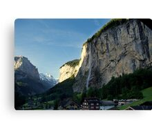 Waterfall in Swiss Alps Canvas Print