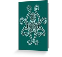 Intricate Teal Blue Octopus Greeting Card
