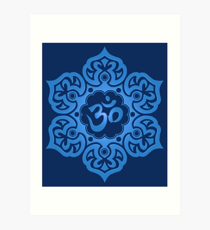 Blue Lotus Flower Yoga Om Art Print