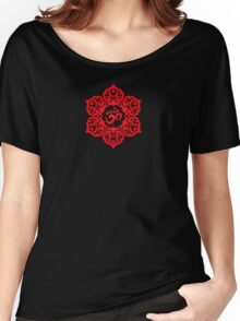 Red Lotus Flower Yoga Om Women's Relaxed Fit T-Shirt