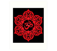 Red Lotus Flower Yoga Om Art Print