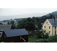 Homes south of Bolna from train Bodo to Trondheim Norway 198406210015  Photographic Print
