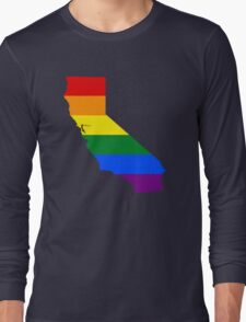 LGBT Flag Map of California  Long Sleeve T-Shirt