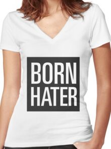 born hater Women's Fitted V-Neck T-Shirt