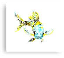 Koi Butterfly Fish Aqua & Yellow Canvas Print