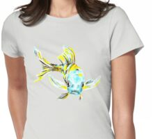 Koi Butterfly Fish Aqua & Yellow Womens Fitted T-Shirt